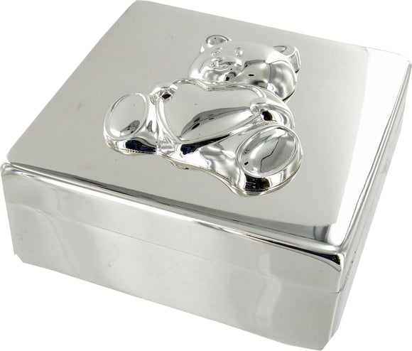 Silver Plated Square Box with Bear