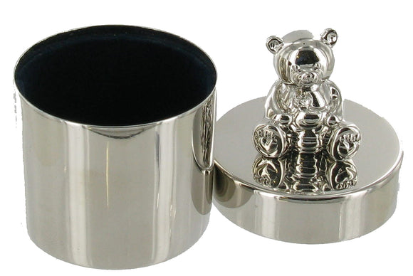 Nickel Plated Round Box with Bear