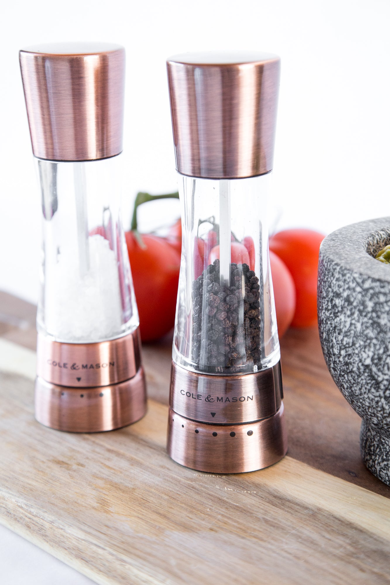 4543ec49180d ... Cole & Mason Gourmet Precision Derwent Acrylic and Stainless Steel Salt  & Pepper Mill Gift Set ...