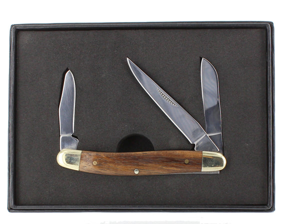 Wood handle small pocket knife with 3 blades