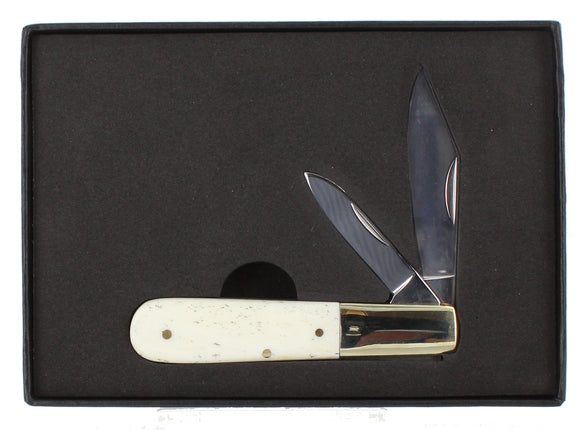 Bone handle small pocket knife with 2 blades