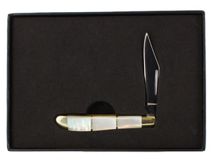 Pearl conch handle small pocket knife with 1 blade