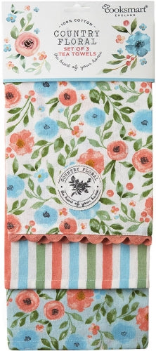 Country Floral 100% Cotton Tea Towels 3 Pack