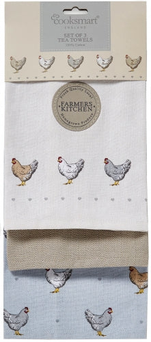 Cooksmart Farmers Kitchen Design 100% Cotton Tea Towels 3 Pack