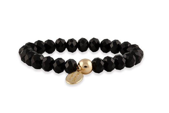 Buckley Black Glass Bead Bracelet