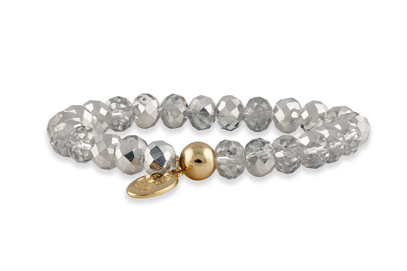Buckley SILVER Glass Bead Bracelet