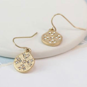 POM Gold plated worn finish crystal inset earrings