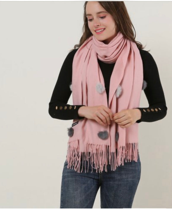Pink Pom Pom Scarf With Tassel Trims