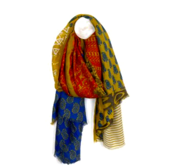 POM Mustard mix Indian inspired print scarf