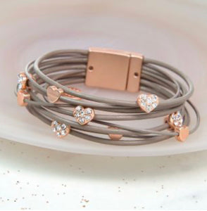 POM Taupe Leather Rose Gold Crystal Hearts Bracelet