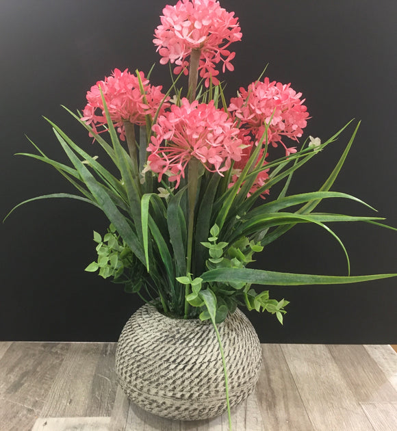 Floral Arrangement Grey 38cm Pot Pink