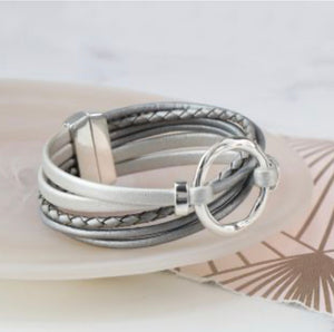 POM Grey Leather and silver plated hoop bracelet
