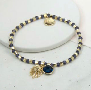 Gold Plated Leaf And Blue Crystal Beaded Bracelet