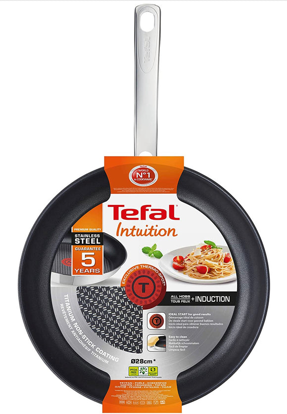Tefal Intuition Frypan, Stainless Steel, Silver, 30cm