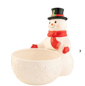 BELLEEK LIVING JOLLY SNOWMAN CANDY DISH