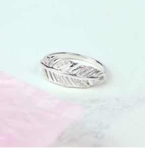POM Sterling Silver Crystal Feather Ring