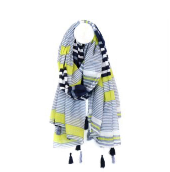 POM Cotton stripe scarf in navy and lime