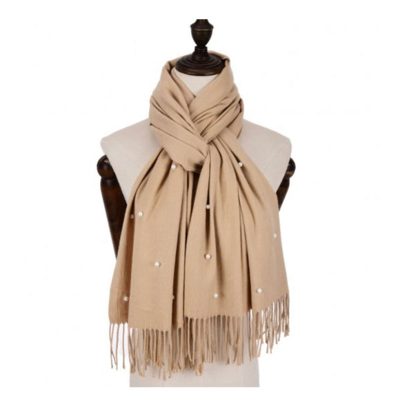 Cashmere mix scarf with Pearl Detail