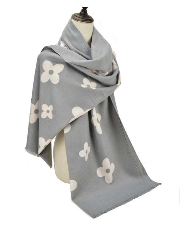 Grey and Cream Floral Scarf