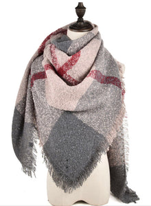 Ladies Grey/Red/Beige Large Winter Scarf