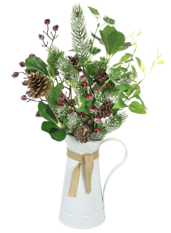 Complete Christmas Arrangement Red Green Urn- 55cms