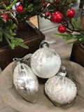 Glass Silver and Ice figure Christmas Baubles Assorted