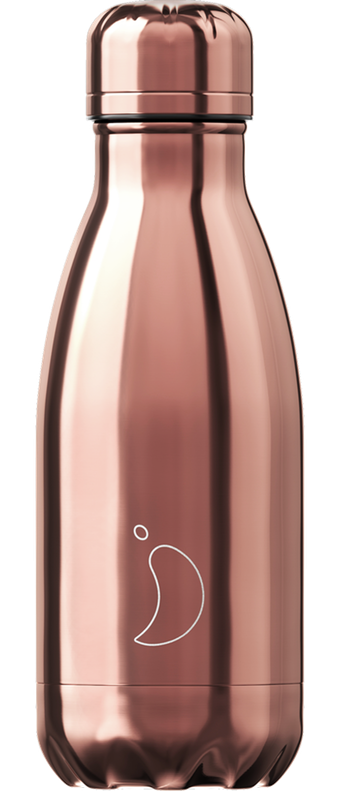 500ml Chilly's Bottles - Chrome / Rose Gold