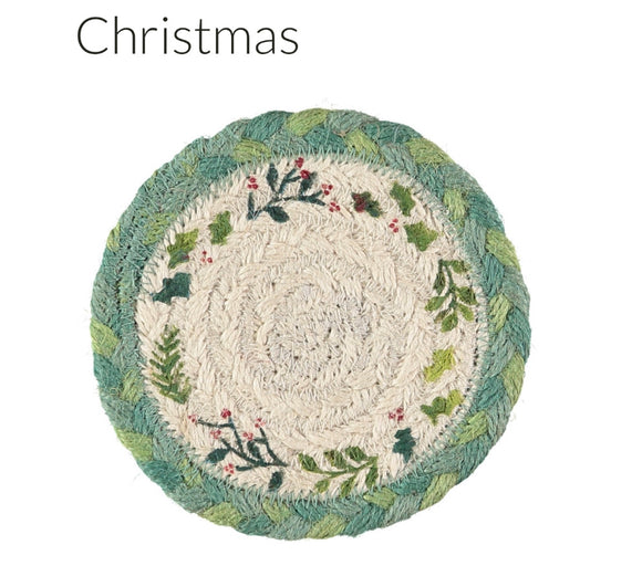 Christmas Jute coasters in basket - set of 6