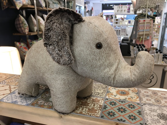 Cream Faux Leather Elephant Doorstop