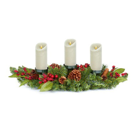 80cm Natural Red Berry Triple Candle Holder
