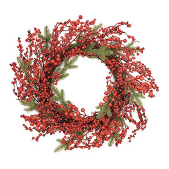 50CM RED BERRY RATTAN WREATH