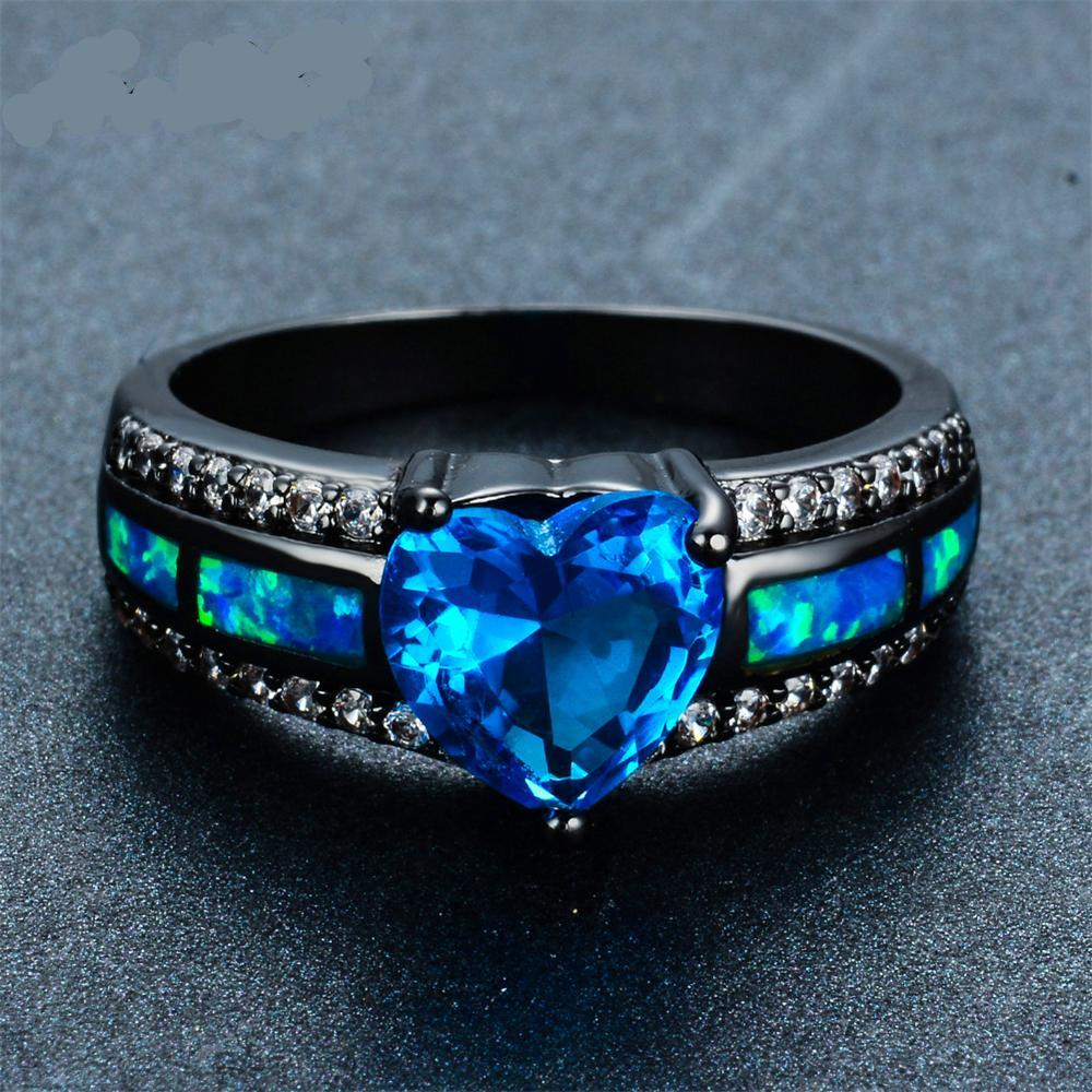 Fashionable Blue Heart Fire Opal Wedding Ring HalzMalz