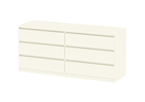 Tvilum 7029648 Scottsdale 6 Drawer Double Dresser, White Wood Grain