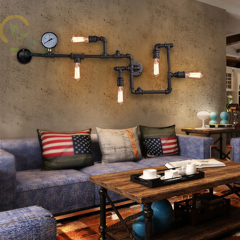 3 Color Steam punk Loft Industrial Iron Rust Water Pipe Retro Wall Lamp Sconce Wall lights E27 LED for Living room Bedroom  Coff