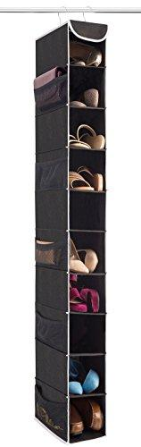 "Zober 10-Shelf Hanging Shoe Organizer, Shoe Holder for Closet - 10 Mesh Pockets for Accessories - Breathable Polypropylene, Black - 5"" x 11 ½"" x 52"""