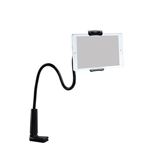 "ZUYEE Gooseneck Lazy Mount for iPhone iPad Stand Tablet Mount Holder Cellphone Stand Bolt Clamp with Spring Girp for Smartphone or Tablet Devices 4-10.1"" 360 Degree Rotating 28"" Flexible Arm (Black)"