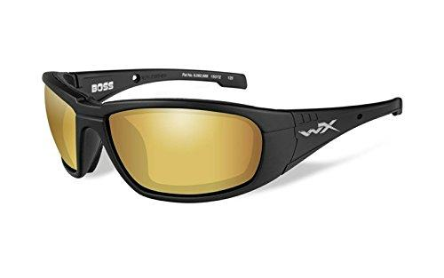 WILEY X 1930469 Wily Boss pol Amber Lens Mat Form Hunting Safety Glasses, Gold