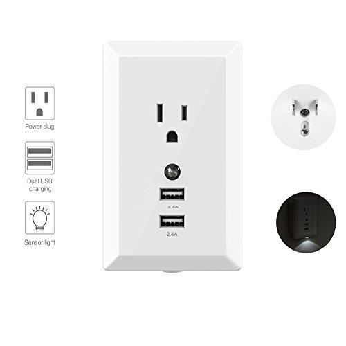 Wall Socket Outlet,Alisaouse Wall Mount Plug Power Plate High Speed Charge USB Port with Sensor Light-White