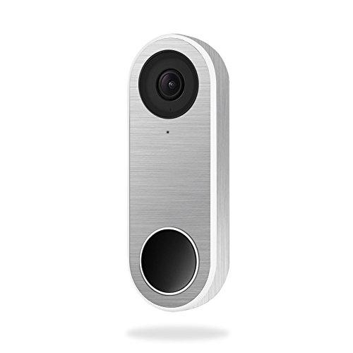 MightySkins Skin For Nest Hello Video Doorbell - Cold Steel | Protective, Durable, and Unique Vinyl Decal wrap cover | Easy To Apply, Remove, and Change Styles | Made in the USA