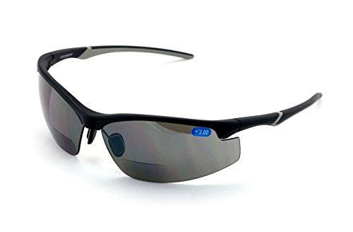 V.W.E. Rx-Bifocal High Performance Protective Safety Glasses Light Mirror Tint Bifocal - Sun Reader - Sunglasses Ansi Z87.1 (Matte Black, 1.50)