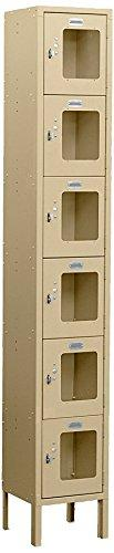 Salsbury Industries S-66162TN-U Six Tier Box Style 12-Inch Wide 6-Feet High 12-Inch Deep Unassembled See Through Metal Locker, Tan Brown