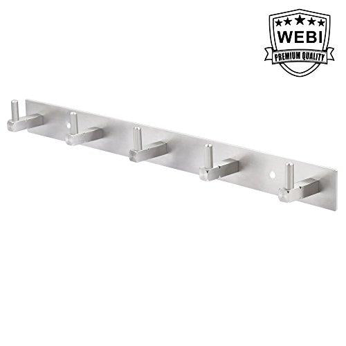 WEBI Solid SUS 304 Coat Towel Holder, 5 Hooks, Brushed Finish, for Bathroom, Bedroom, Kitchen, Utility Room, Laundry Room, Home Office Storage & Organization, L-CF05