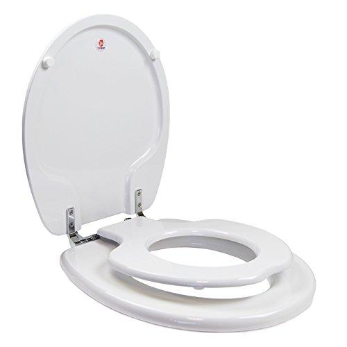 Topseat 6TSTR9999CP 000 TinyHiney Potty Toilet Seat, Adult/Child with Chromed Metal Hinges, Wood, Round, White