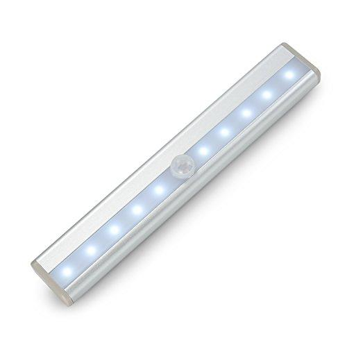 Wireless Motion Sensing LED Closet Light,LNGOOR DIY Stick-On Anywhere Built-in Battery 10-LED Bulbs Magnetic Night Light Bar USB Rechargeable Portable Cold White for Cabinet Kitchen Wardrobe Stairway