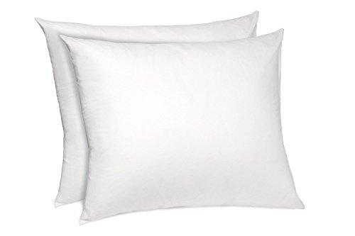 Zippered Pillow Protectors Hypoallergenic Cotton/Poly Breathable Pillow Covers Soft and Quiet (Set of 2 Standard Size) White Pillow Cases