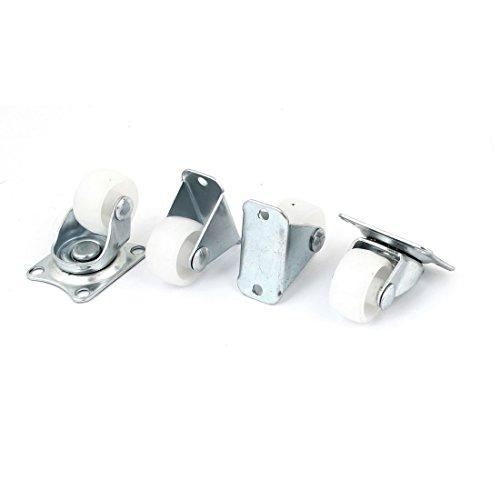Uxcell  a11060300ux0553 Plastic Wheel Fixed Swivel Caster Set, 1-Inch, White, 4-Piece
