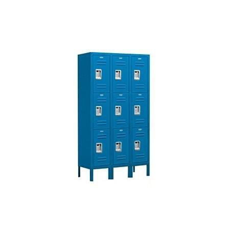 Salsbury Industries Assembled 3-Tier Standard Metal Locker with Three Wide Storage Units, 5-Feet High by 18-Inch Deep, Blue