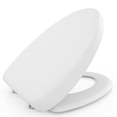 Toilet Seat with Cover, Soft Close Quick Release for Easy Cleaning Fits All Manufacturers' Round/Elongated Toilets, White (Elongated)