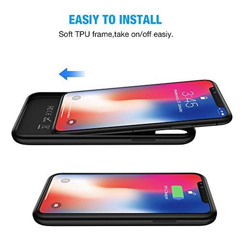 official photos 04e1a cdd93 iPhone X Battery Case with Qi Wireless Charging,Support Lightning Headphone  and Data Syncing,ALCLAP 3000mAh iPhone X wireless charging battery cover ...