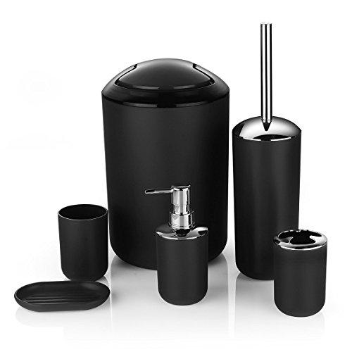 Zuvo 6 Pcs Plastic Bathroom Accessory Set Luxury Bath Accessories Bath Set Lotion Bottles, Toothbrush Holder, Tooth Mug, Soap Dish, Toilet Brush, Trash Can, Rubbish Bin (Black)